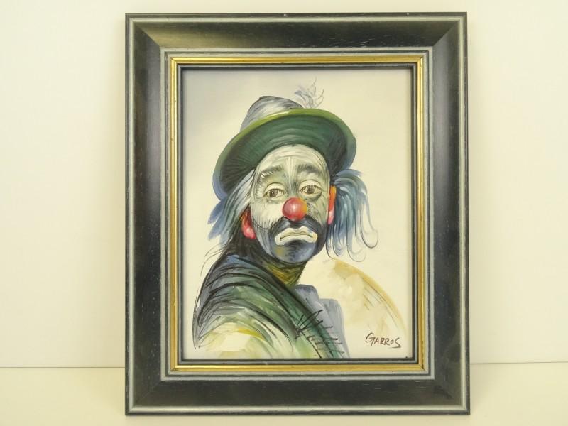 Olieverfschilderij op doek: Triestige Clown, gesigneerd Garros