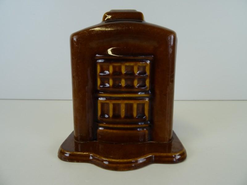 Ciney-kachel spaarpot gietijzer geëmailleerd 1e helft 20e eeuw