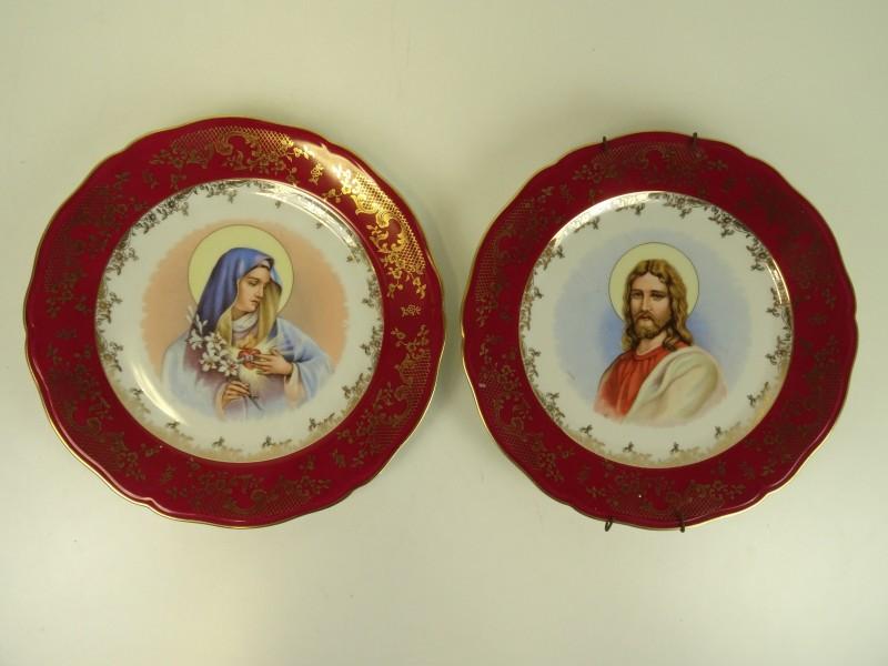 Zeh Scherzer, Bavaria Germany, Elite 2 decoratieve  borden met Jezus en Maria