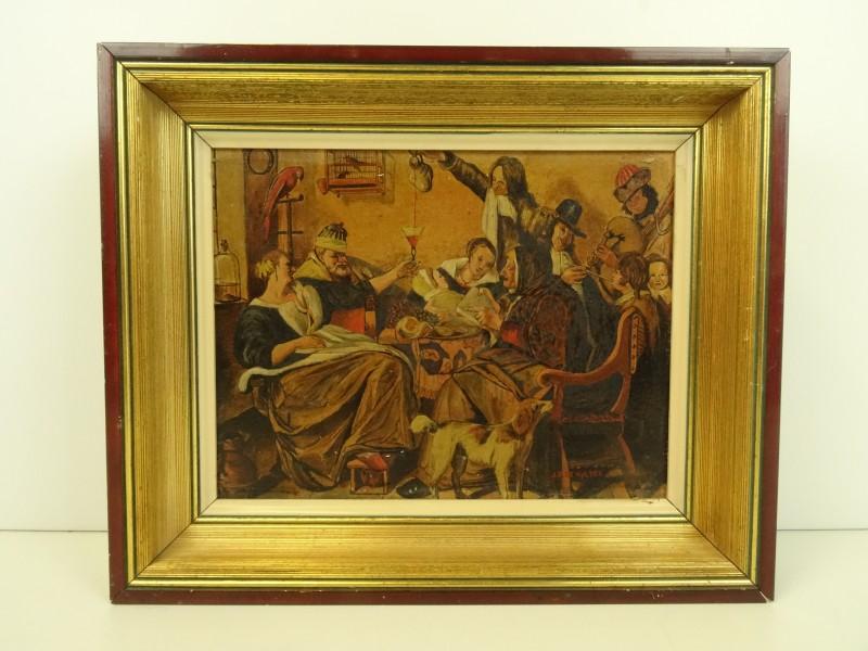 Olieverfschilderij op paneel naar voorbeeld van Jan Steen - gesigneerd J.F. de Vylder