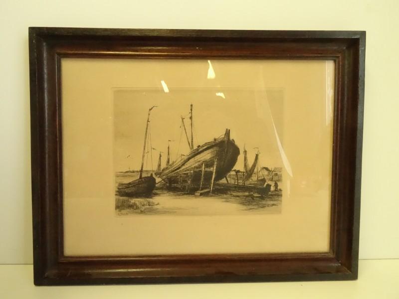 Ets of gravure van een stelplaats voor boten, gesigneerd en gedateerd
