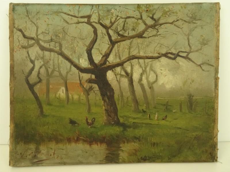 Schilderij landschap gesigneerd-niet gekaderd