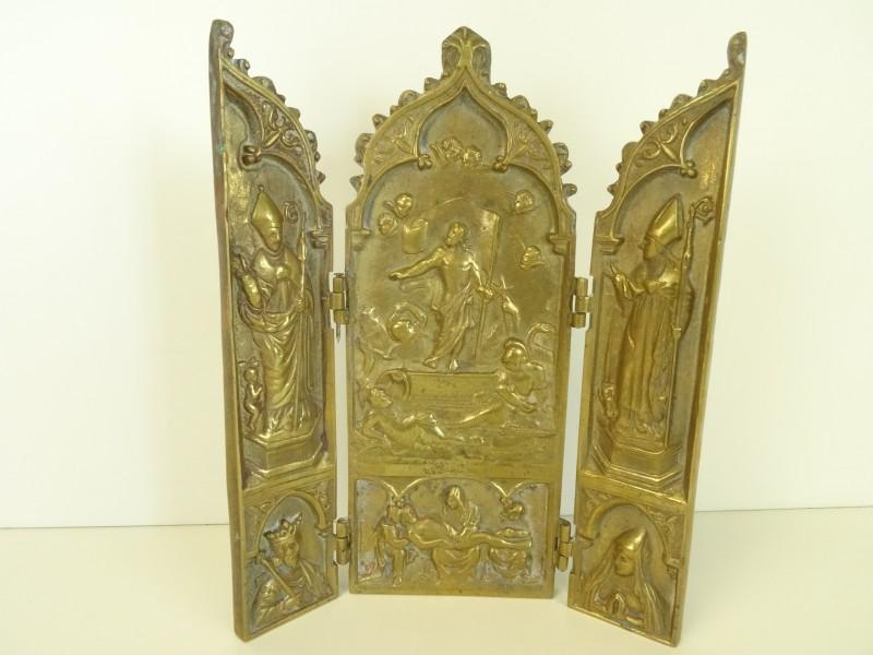 Antiek bronzen religieus drieluik kader