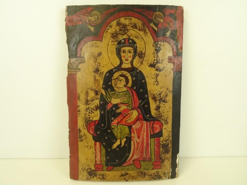 Icoon op hout van de Heilige Maria en Kind gesigneerd Joan