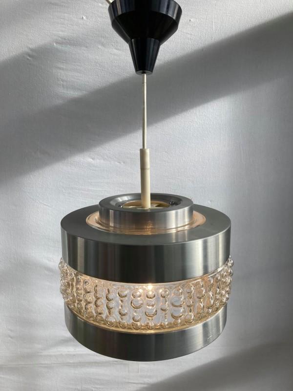 Retro plafondlamp uit chroom en glas