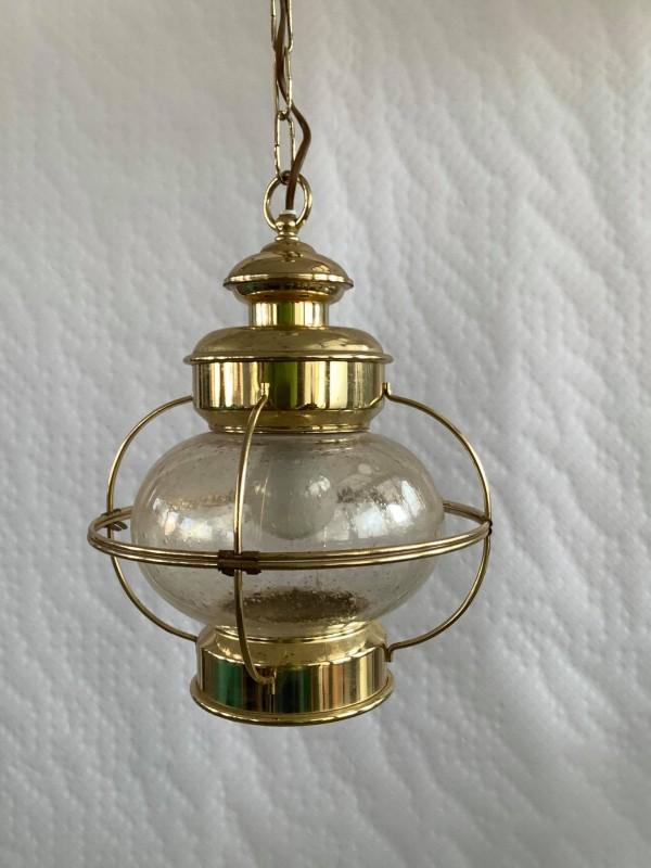 Hanglamp in koper en glas