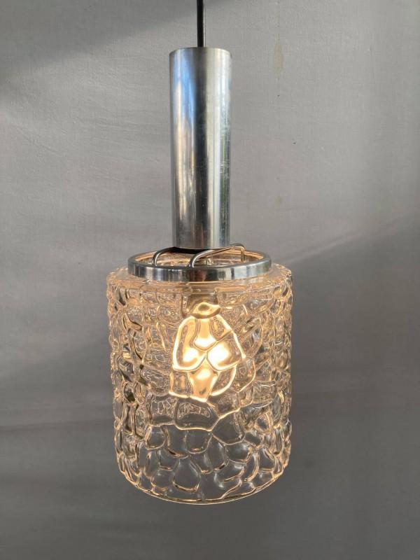 Retro hanglamp uit chroom en glas