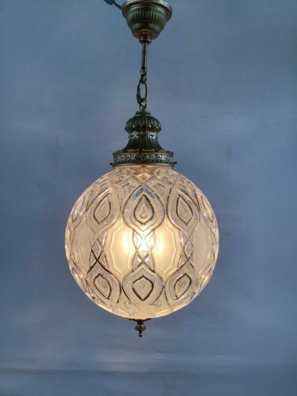 Vintage hanglamp met glazen kap