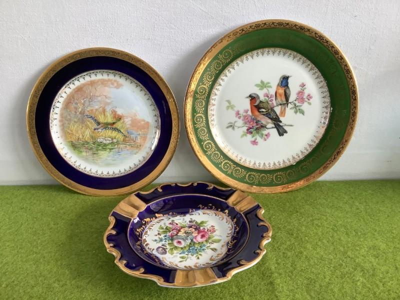 2 borden en 1 asbak: Limoges porselein