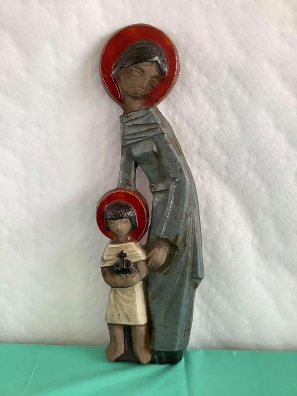 Retro muurplaquette van Maria met Kind