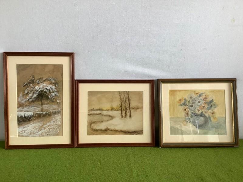3 aquarellen van Aug. Burgraeve