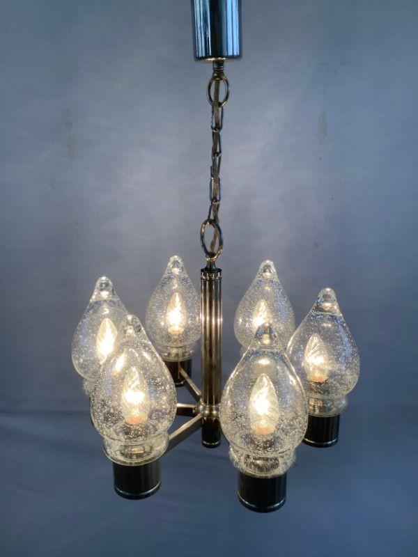Vintage hanglamp uit chroom en glas
