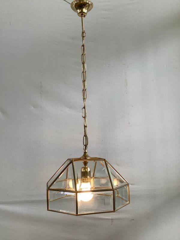 Hanglamp met kap in glas en koper