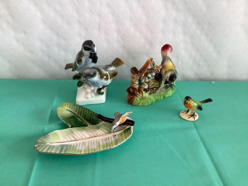 Lot van 4 keramiek items met vogels