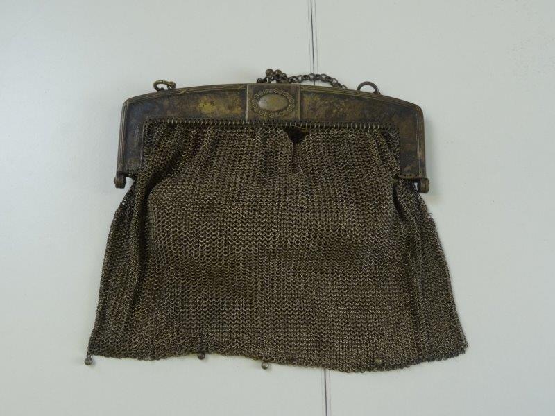 Antieke geweven zilverkleurig handtas (2)