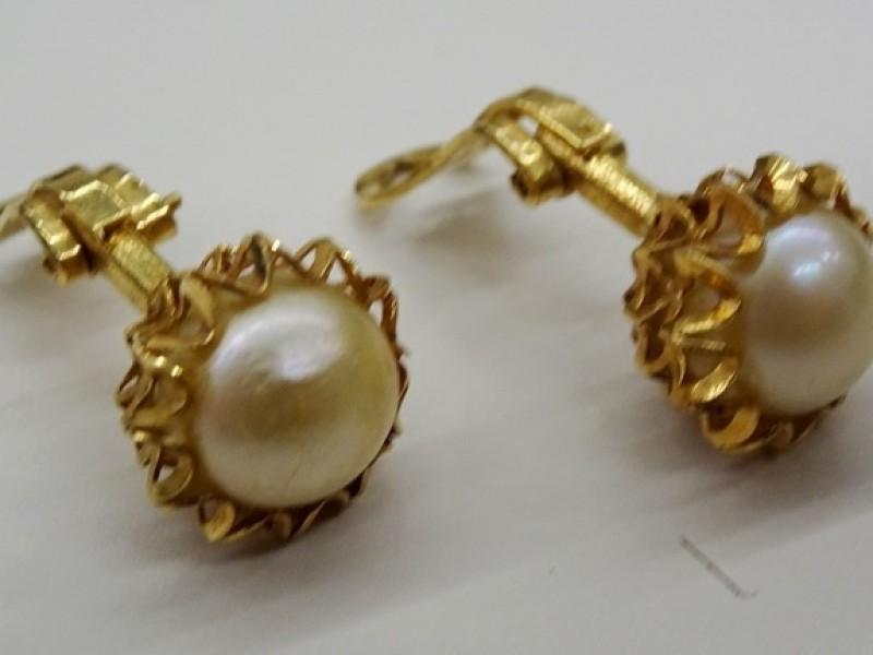 18 kt gouden oorbellen met parelmoer