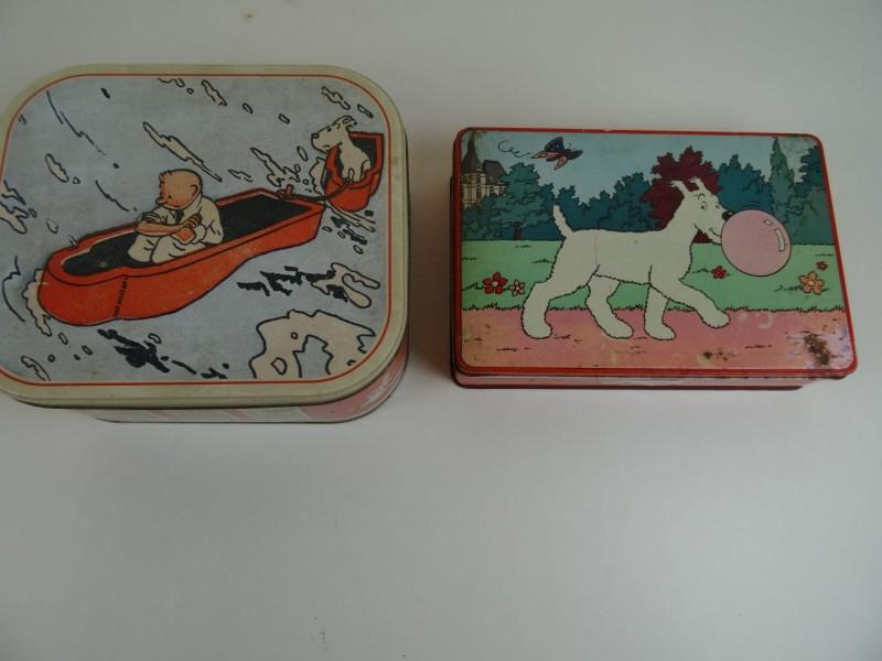 Hergé: 2 blikken trommels Bobbie 1960 en Kuifje 2014
