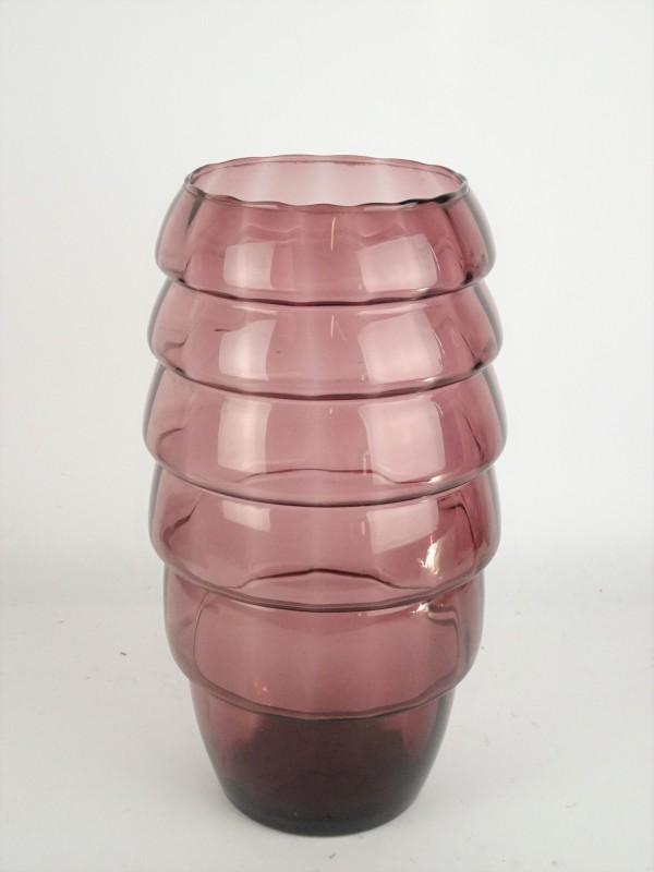 Vintage glazen paarse vaas