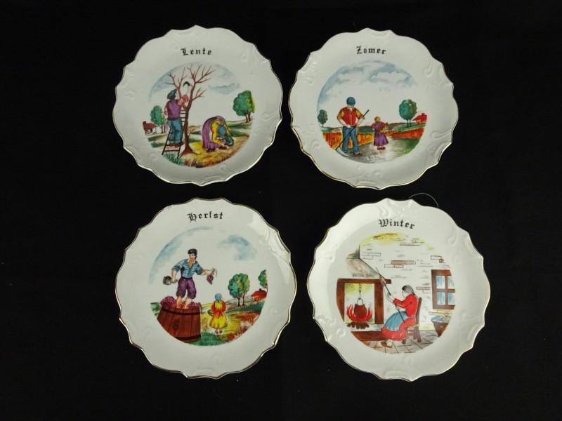 4 porseleinen decoratieve borden