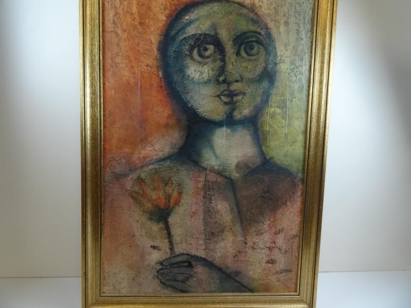 niet gesigneerde schilderij van jonge vrouw met bloem