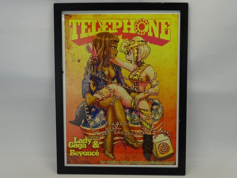 """Gehandtekende """"Telephone"""" Print: Lady Gaga en Beyonce, Yamino 2011"""