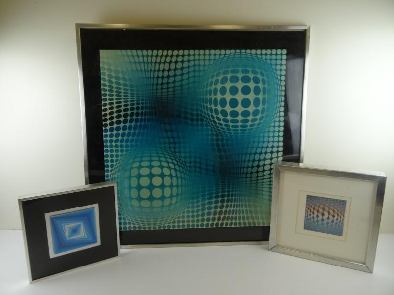 3 Op-Art kaders Victor Vasarely prints
