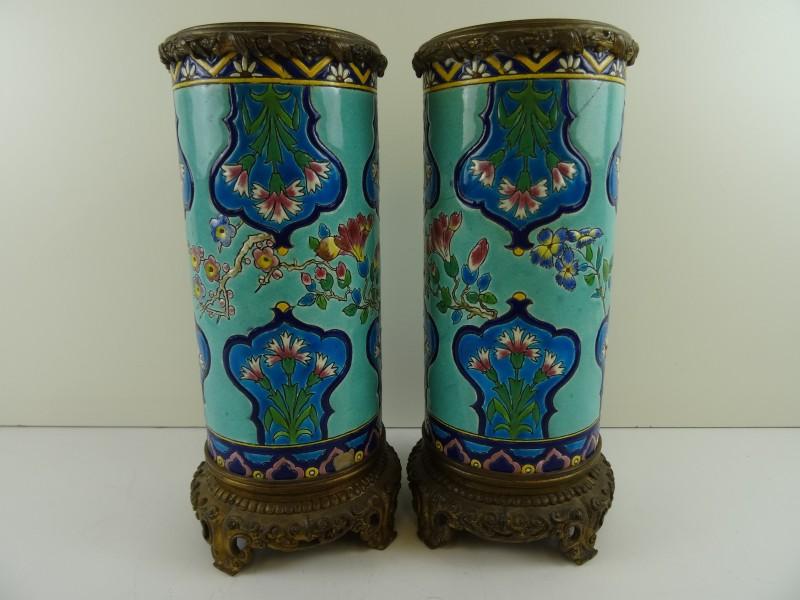 Paar vazen Emaux de Longwy