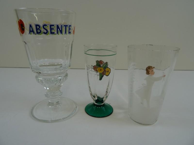 Antiek glazen 3 stuks