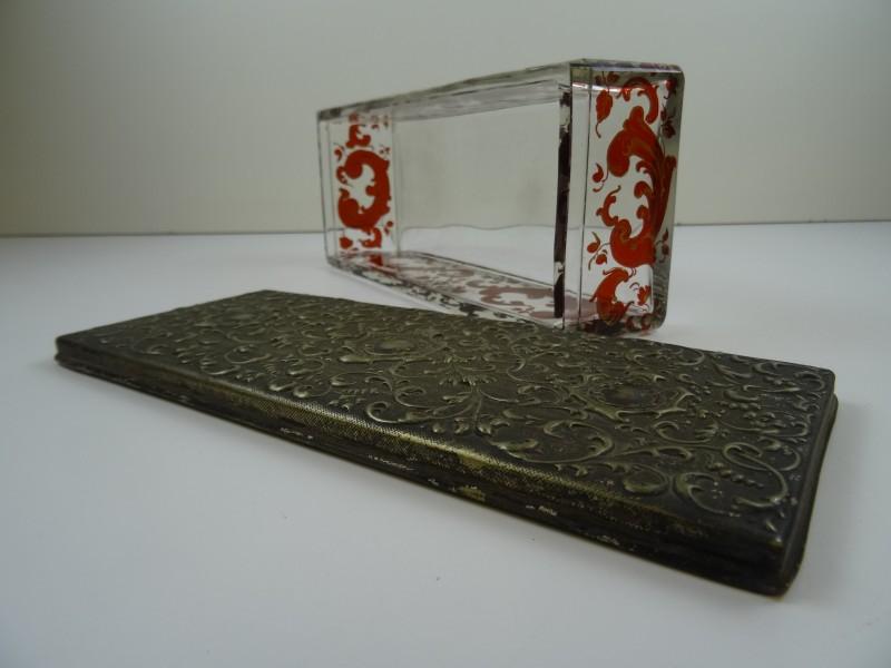 antiek glazen bewaarbox 19de eeuws