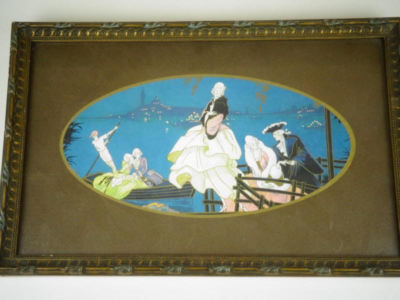 Een romantisch en elegante Venetiaanse gekleurde tekening