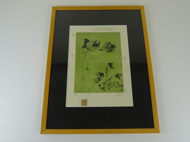 Frédéric Penelle: genummerde print van een gravure Le ventre de la poule 1999