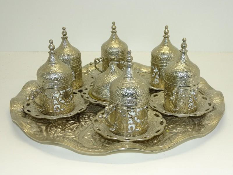 Ottomaans Design, Zilverkleurige Turks Koffie Set