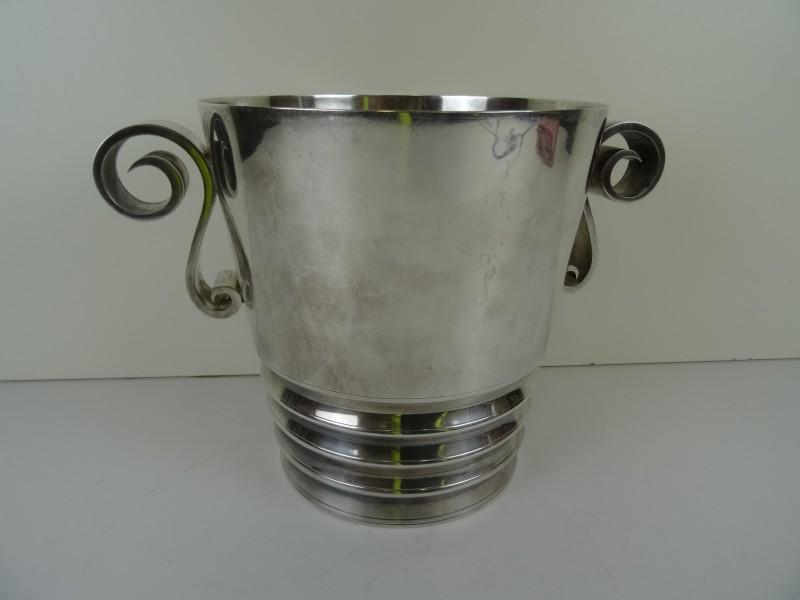 Verzilverde Art Deco ijsemmer - Grenadier