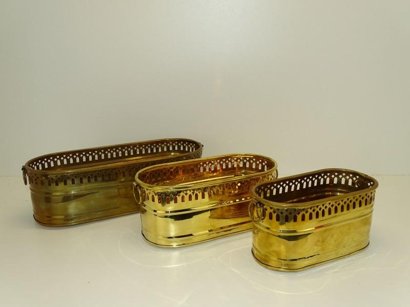 3 Koperen Bloempotten, Made In India