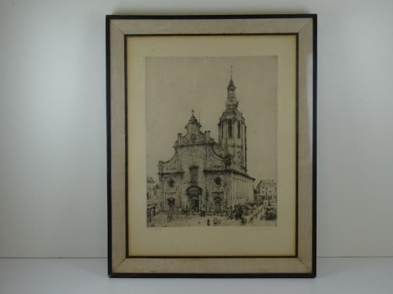 Romain Malfliet: print van ets kerk te Zele