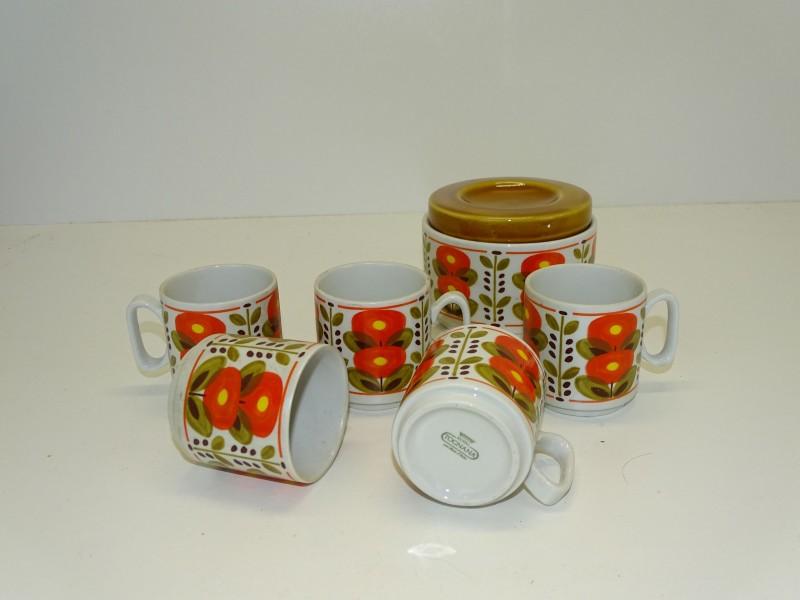 5 Retro Espresso Kopjes + 1 Suikerpot: Royal Tognana, Treviso, Italië