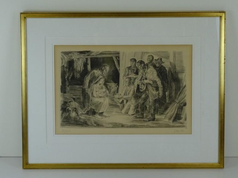print van pentekening kindje Jezus in de stal