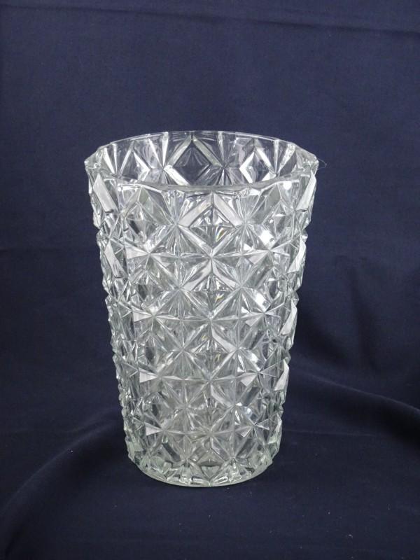 Vintage glaskristallen vaas van 25 cm hoog.