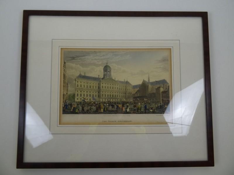 Capt Batty: print handgekleurd van The Palace Amsterdam 1825