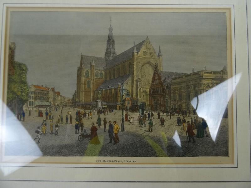 The Market-Place Haarlem: handgekleurde houtgravure 1885