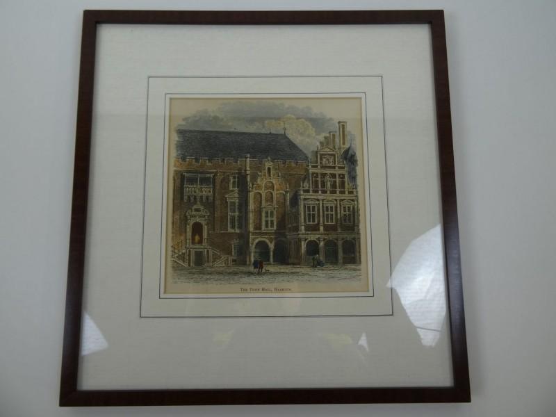 The Town Hall: handgekleurde houtgravure 1880