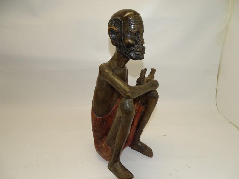 Handgesneden Afrikaans Beeld, Hout, Zittende Man