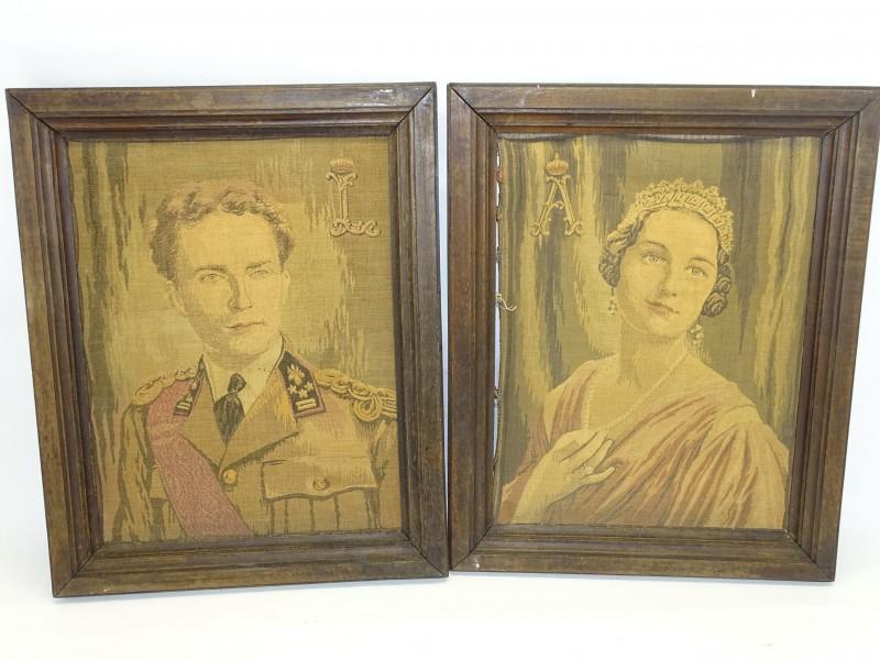 Kaders met Geweven Portretten Koning Leopold En Astrid, Eerst deel 20e Eeuw