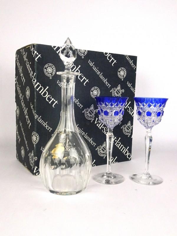 Kristallen karaf met 2 glazen (Val St. Lambert)