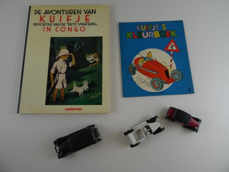 Lot 2 Hergé: 1 stripalbum en 3 autootjes + kleurboek