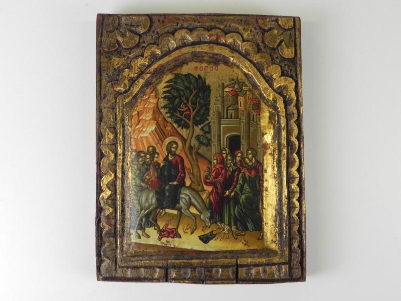 Icoon op hout van de intrede van Jezus in Jeruzalem