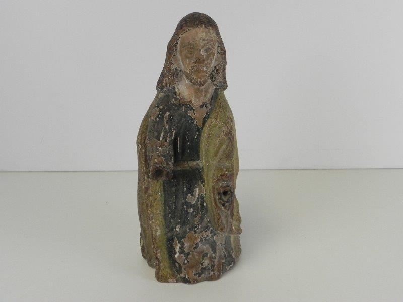 Antiek Romaanse Heiligen Figuur in hout