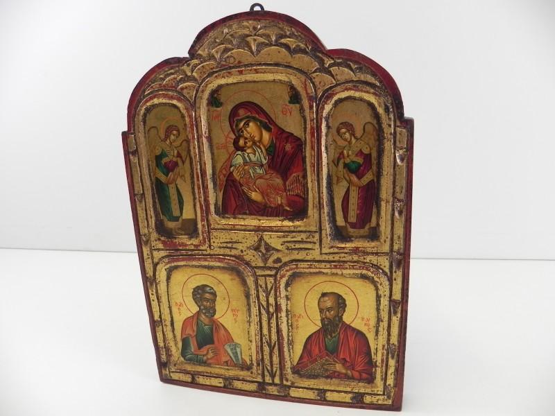 Houten kader, Byzantijns met schilderij van Odighitria (2)