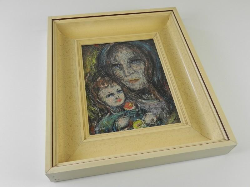 Schilderij achter glas, Moeder met kind gesigneerd en gedateerd