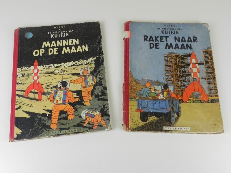 Hergé: Kuifje 2 eerste drukken jaren '50 tweeluik rond de avonturen op de maan